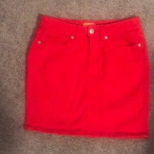 Bright red Joe Fresh denim mini skirt 2